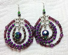 Vintage Dangle Earrings Glass Iridescent Purple Green Beads Fashion Jewelry