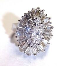 Radiant! 14K White Gold 1.81CT Baguette Round and Marquis Diamond Cluster Ring