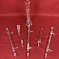Lot of 7 VTG Kimax Chemistry Laboratory Glass Pieces Stopper Condenser Cylinder
