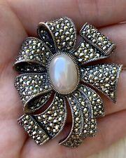 Vintage Designer Judith Jack Marcasite Imitation Pearl Sterling Silver Brooch