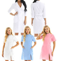 Women Doctor Nurse Uniform Hospital Workwear Scrubs Lab Medical Dress Coat Club