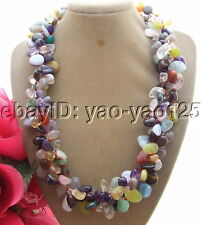 R072308 3Strds Natural Tiger's Eyes&Amethyst&Carnelian Necklace