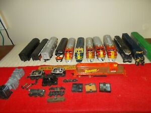 LOT OF 10 1970s TYCO F-A UNITS/SHELLS, SOME POWERED, +3 POWER TRUCKS, AS-IS, GC