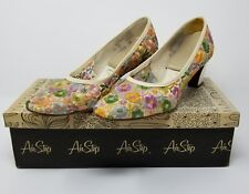 Women's vintage multicolor floral mesh heels shoes size 5.5 B Airstep spring fun