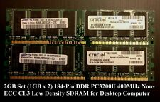 2GB (2 x 1GB) 184-PIN DDR PC3200 400MHz CL3 NON-ECC DIMM FOR DESKTOP