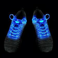 25 Blue LED Shoelaces Light Up Fibre Glow Flashing Luminous Shoe Lace Party UK