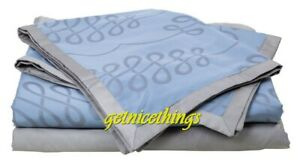 $480 Yves Delorme Calligraphie King Flat Sheet Baltic Blue Platine Grey Sateen