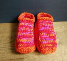Hand Knit Slippers Bright Orange Mix Comfortable, Durable, Warm Phentex washable