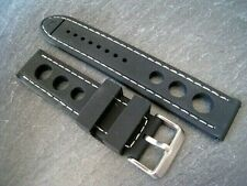 Silicone Rally watch strap. Stitched with Steel Buckle. 20mm, 22mm & 24mm