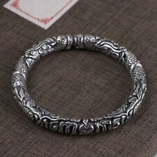 Bracelet Bangle Dragon Cloud Pole Open Real Solid 999 Sterling Pure Silver Cuff
