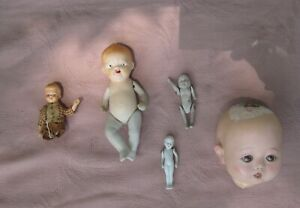 Antique doll lot of 5 4 TLC or parts miniatures Japan German 1 head glass eyes