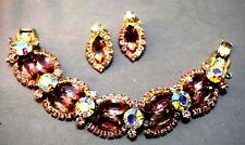 & Lavender Juliana D&E Bracelet/Earrings Rare Massive Head Light Iridescent Pink