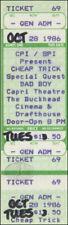 Cheap Trick 1986 Unused Concert Ticket Bad Boy