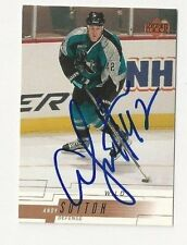 00/01 Upper Deck Autographed Hockey Card Andy Sutton San Jose Sharks
