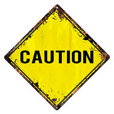 DS-0003 CAUTION Diamond Sign Rustic Chic Sign Bar Shop Home Decor Gift
