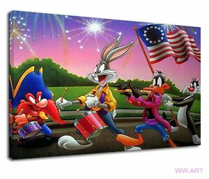 Characters Of Looney Tunes For Kids Bedroom Canvas Wall Art Picture Print
