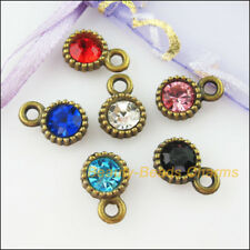 6Pcs Antiqued Bronze Mixed Crystal Tiny Round Charms Pendants 8.5x13mm