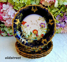 4 Gorgeous Limoges Porcelain Plates ~ Cobalt ~ Gold Encrusted