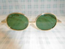 Vintage Renauld Gold Abstract Modern Round Sunglasses USA