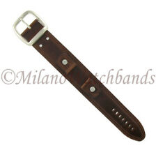 20mm Hadley Roma Brown Genuine Leather X-Wide Military Style Cuff Watch Band 912