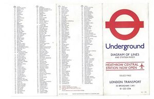 London Underground 1978 Diagram Of Lines and Station Index No. 1
