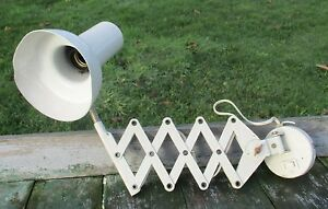 Vintage Industrial Machine Age Scissor Wall Lamp Expanding Mounted Adjustable
