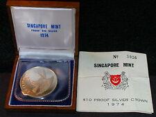 S-83: Scarce Singapore Proof 10$, Eagle Landing, 1974, c/w Cert/Teak Box No 3926
