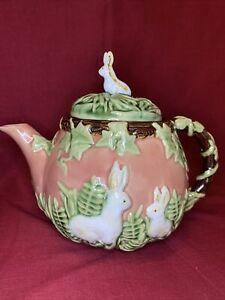 Vintage Nouveau Majolica Pottery/Stoneware Rabbit Bunny Teapot *EASTER*