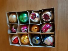 Vintage Glass Christmas Tree Ornaments- Baubles x 12
