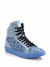 31324908a4df New Listing100% AUTHENTIC NEW MEN MCM BLUE LOGO MCM HIGH TOP SNEAKERS EU 41  US 8