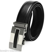 Luxury Mens Automatic Buckle Black Leather Ratchet Belt Waist Strap Waistband