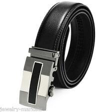 Luxury Mens Automatic Buckle Black Leather Ratchet Belt Waist Strap Waistband