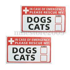 2x Emergency Pet Rescue DOG CAT Vinyl Decal Sticker First Responder FIRE Safety