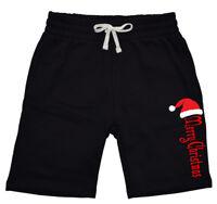 Mens Santa Hat Merry Christmas Fleece shorts sweatpants jogger Xmas Holiday V623