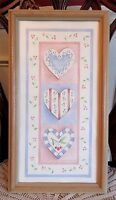 Virginia Welytok Framed Shabby Cottage Print Art Hearts Lace Berries Wood Frame