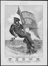 1892 Antiguo Impresión Publicidad Brookes Jabón Mono Marinero Mar mástil de bandera (152)