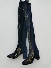 Free People Over The Knee Boots Night Blue Sky Embroidered Moon Size 4