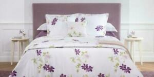 New Yves Delorme Clematis White Purple Floral Queen Flat & Fitted Sheets Sateen