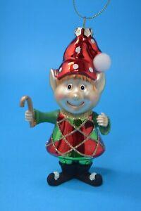 Modern Elf  Blown Glass Christmas Ornament