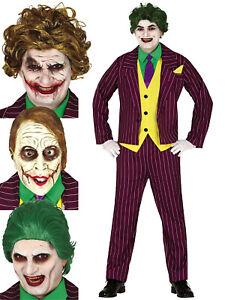 Mens Evil Joker Costume +/or Mask Wig Adults Horror Circus Halloween Fancy Dress