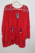 KAS Designs Red Embroidered Oversized Boho Kimono XS NEW $157