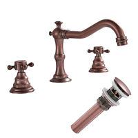Antique Copper Waterfall Bathroom Sink Faucet Widespread Dual Handles 3 Holes