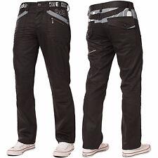 New ENZO Designer Mens Straight Leg Jeans Regular Fit Black Denim Pant All Sizes