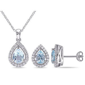 Sterling Silver Sky Blue Topaz and White Sapphire Set of Earrings and Necklace