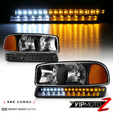 [FULL-LED BUMPER LIGHTS] Black 1999-2006 GMC Sierra 1500 Yukon XL 4PC Headlights