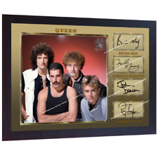 Freddie Mercury & Queen signed autograph Music pre-print poster photo Framed