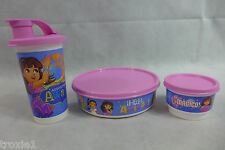 Tupperware Dora the Explorer Lunch Set Lot Of 3 Bowl Snack Cup and Drink Cup New