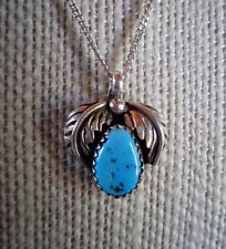 """STERLING SILVER SOUTHWEST STYLE TURQUOISE PENDANT 18"""" SS CHAIN"""