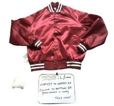 Vintage West Ark Burgundy Satin Varsity Jacket Mens Size Large Made In The USA