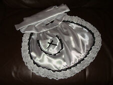 MAIDS/SISSY/ADULT BABY/ SATIN APRON WITH POCKET, RIBBON & TRIPLE LACE TRIM